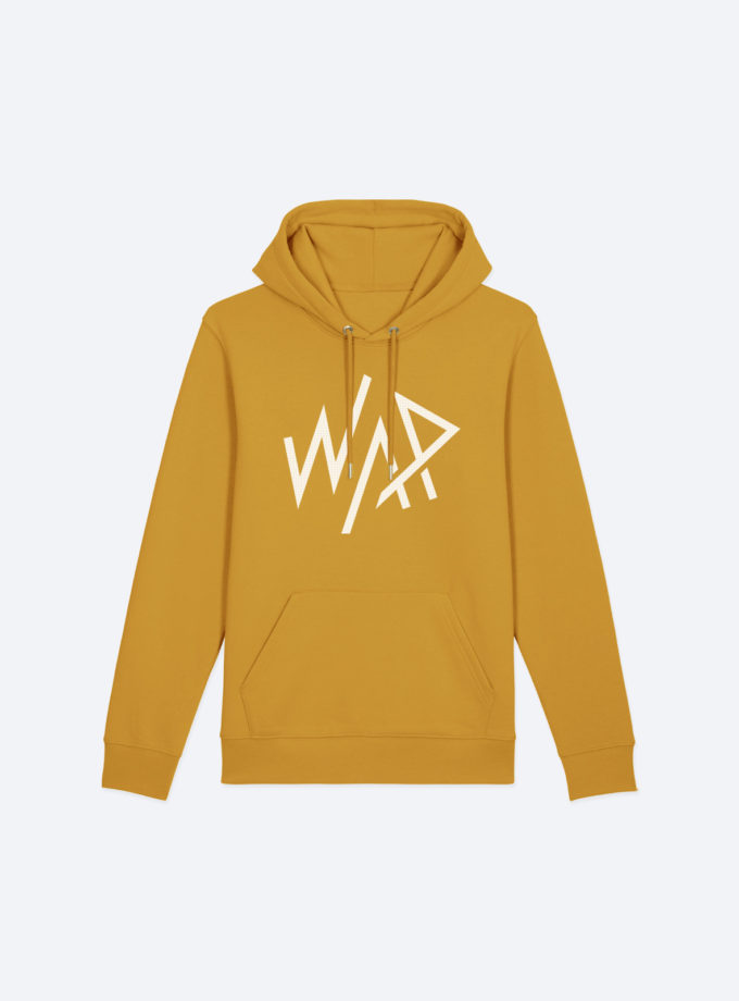 "Hoodie Ocre ""Grand WAP Blanc"" - 85% coton biologique, 15% polyester recyclé - WE ARE PRIMITIV"